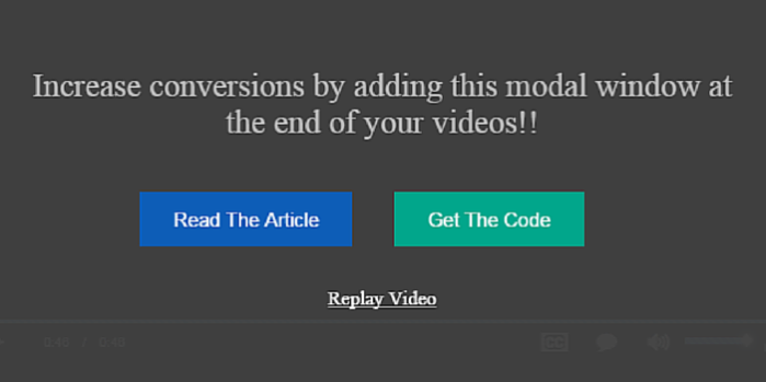 How to add conversion overlay window at the end of a video?