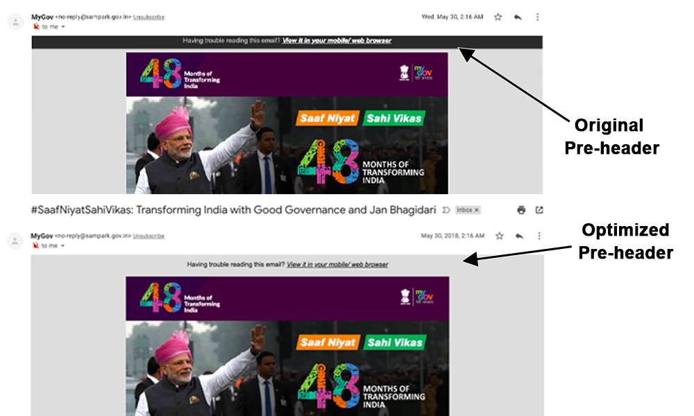 MyGov Email Teardown Pre-header Comparison